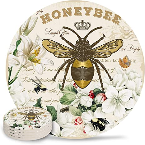 Amazon.com | Absorbent Coasters Sets For Drinks - 6 Piece Set Modern French Bee Garden Vintage Queen Floral Drink Coaster With Cork Base Round Cup Mat For Wooden Table, Stone Table,Bar, Housewarming