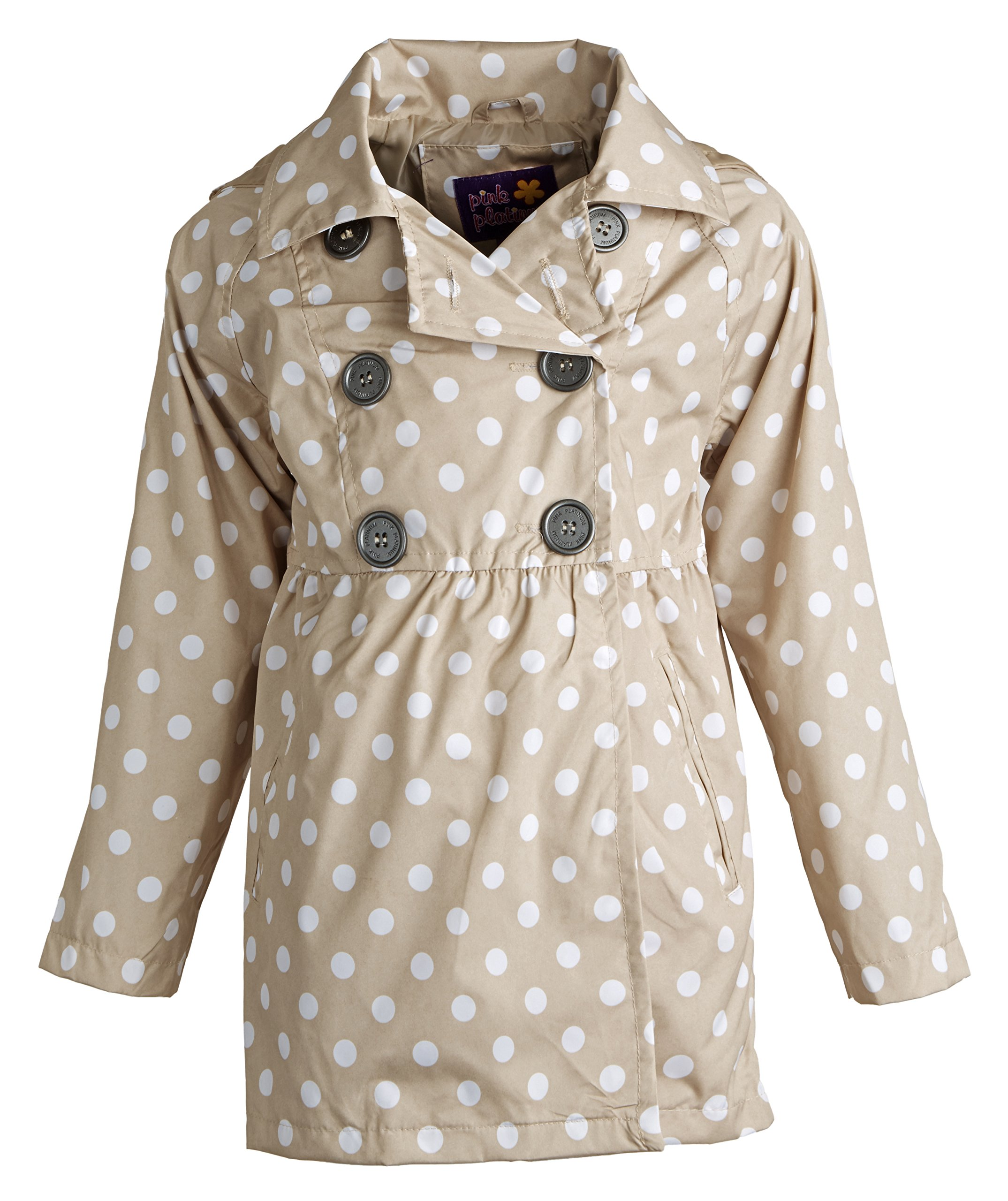 Pink Platinum Little Girls Double Breasted Polka Dot Waisted Spring Trench Coat - Khaki (Size 4) by Pink Platinum (Image #2)