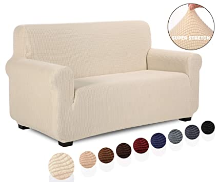 Amazing Tianshu Loveseat Slipcover Furniture Protector Non Slip 2 Cushion Couch Covers For Dogs Soft Durable Stay In Place Sofa Covers Loveseat Ivory Dailytribune Chair Design For Home Dailytribuneorg