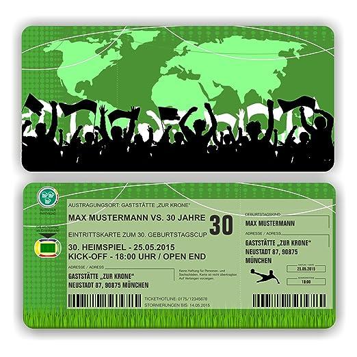 Tarjeta de invitación Cumpleaños Fútbol Ticket eintritt ...
