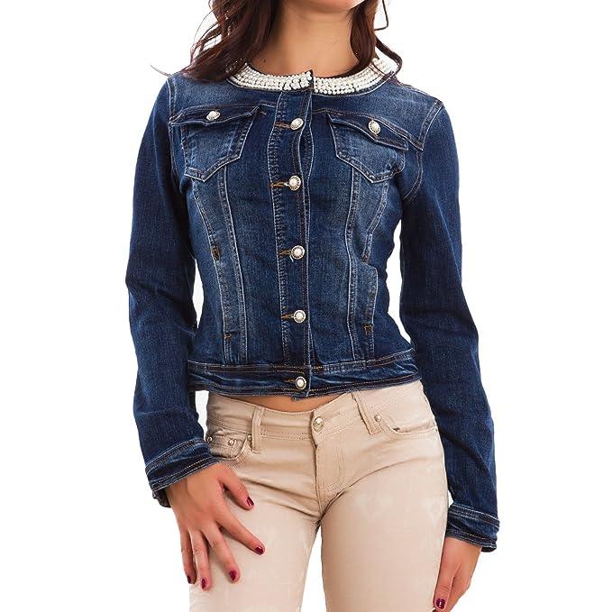 new concept fc568 06492 Toocool - Giacca Jeans Donna Denim Perline Corto Giubbotto ...