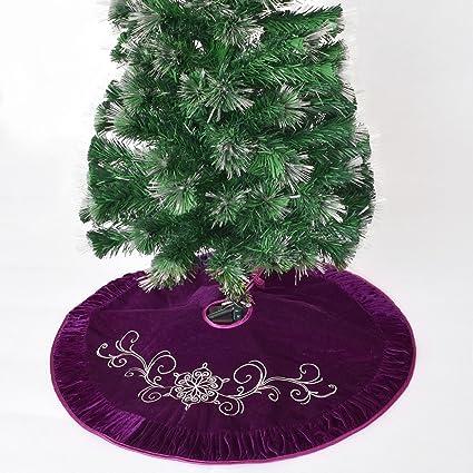 "Gireshome 50"" Purple Velvet Embroidered with Pleat Velvet Border  Luxurious Fashionable Tree Skirt Xmas Tree - Amazon.com: Gireshome 50"