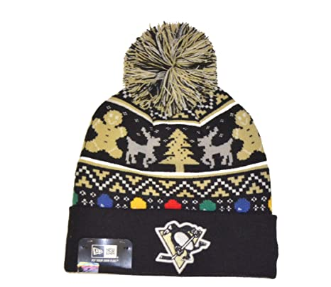 """278581ff Pittsburgh Penguins """"Ugly Sweater"""" Beanie Hat with Pom - NHL  Cuffed Winter Knit"""