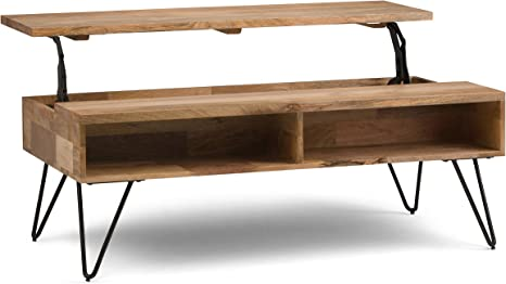 Amazon Com Simplihome Hunter Solid Mango Wood And Metal 48 Inch Wide Rectangle Industrial Contemporary Lift Top Coffee Table In Natural With Storage 2 Shelves For The Living Room Family Room Furniture