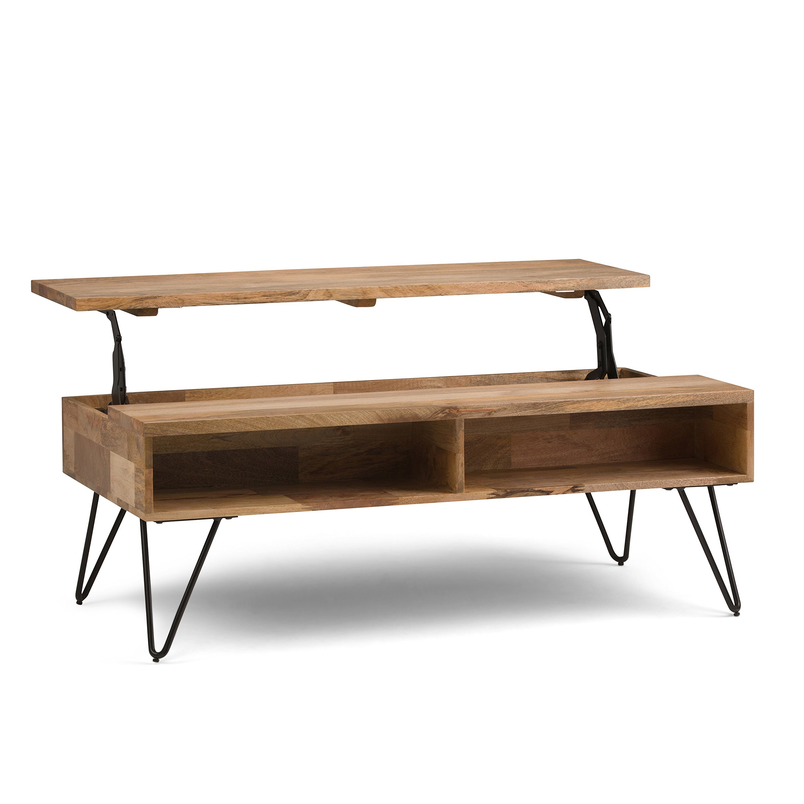 Simpli Home AXCHUN-01 Hunter Solid Mango Wood and Metal 48 inch Wide Mid Century Modern Lift Top Coffee Table in Natural by Simpli Home
