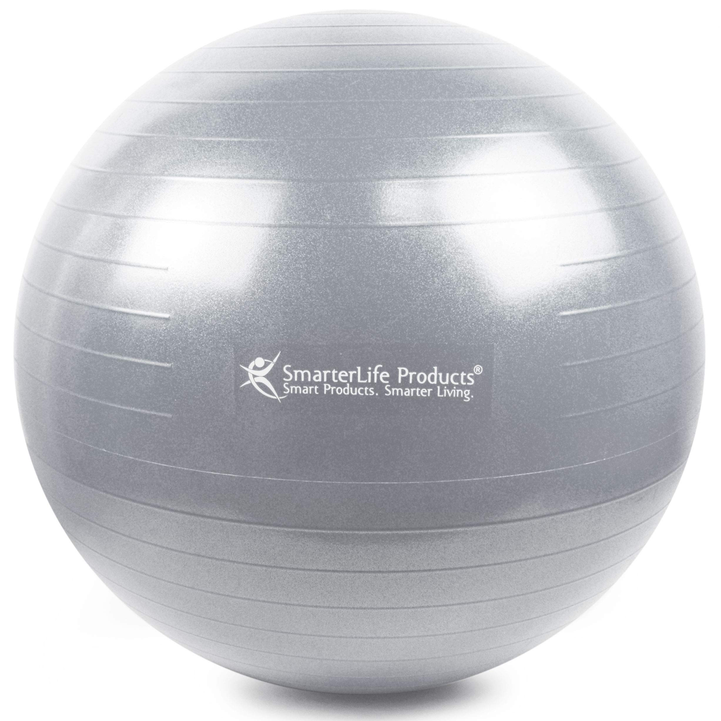 Exercise Ball for Yoga, Balance, Stability from SmarterLife - Fitness, Pilates, Birthing, Therapy, Office Ball Chair, Classroom Flexible Seating - Anti Burst, Non Slip + Workout Guide (Silver, 65cm) by SmarterLife Products (Image #2)