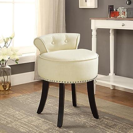 Amazon Com Inspired Home Taylor White Linen Vanity Stool Nailhead