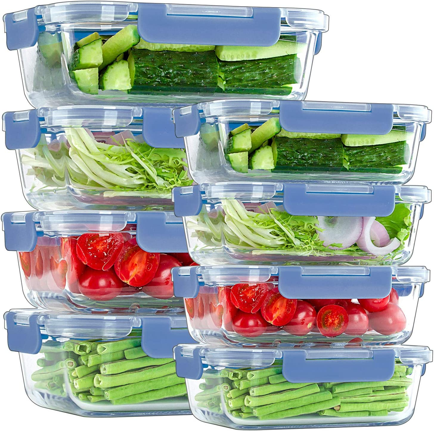 8 Pack Glass Meal Prep Containers, [4 Pack 34 Oz + 4 Pack 12 Oz] Airtight Glass Storage Containers with Lids, BPA Free Glass Bento Boxes for Lunch