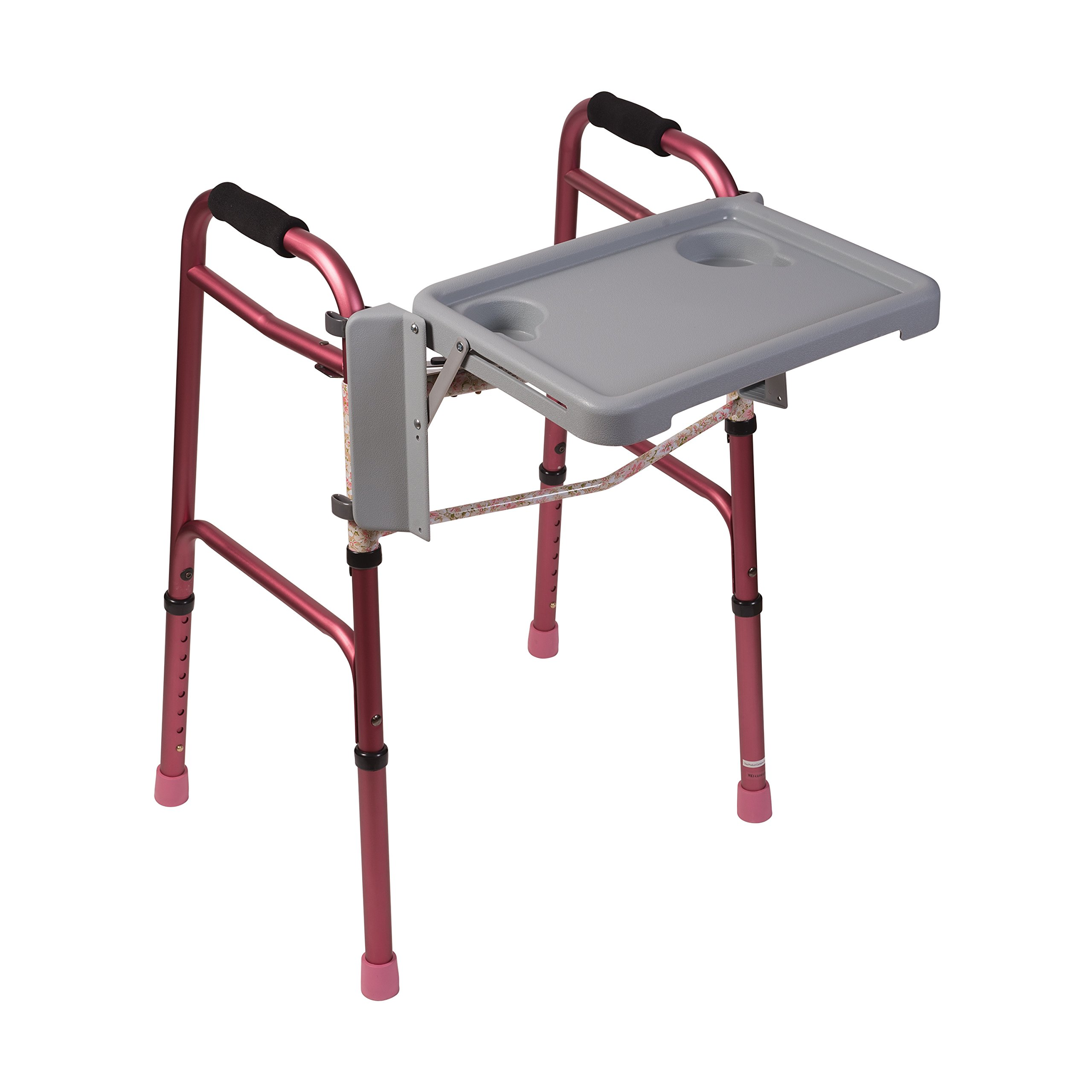 Folding Walker Tray - Foldable Walkers Tray Table with Cup Holders, Home Walkers Trays for Seniors and Handicap, Tool Free, Gray
