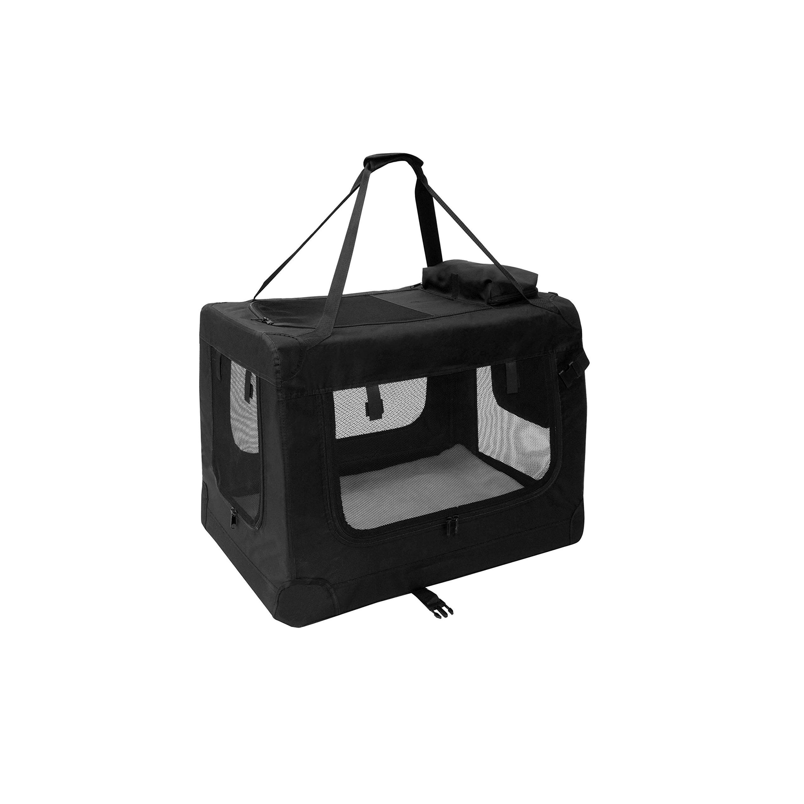 ALEKO PBCBKS 19X14X12 Inch Heavy Duty Collapsible Pet Carrier Portable Pet Home Spacious Traveler Pet Bag, Black