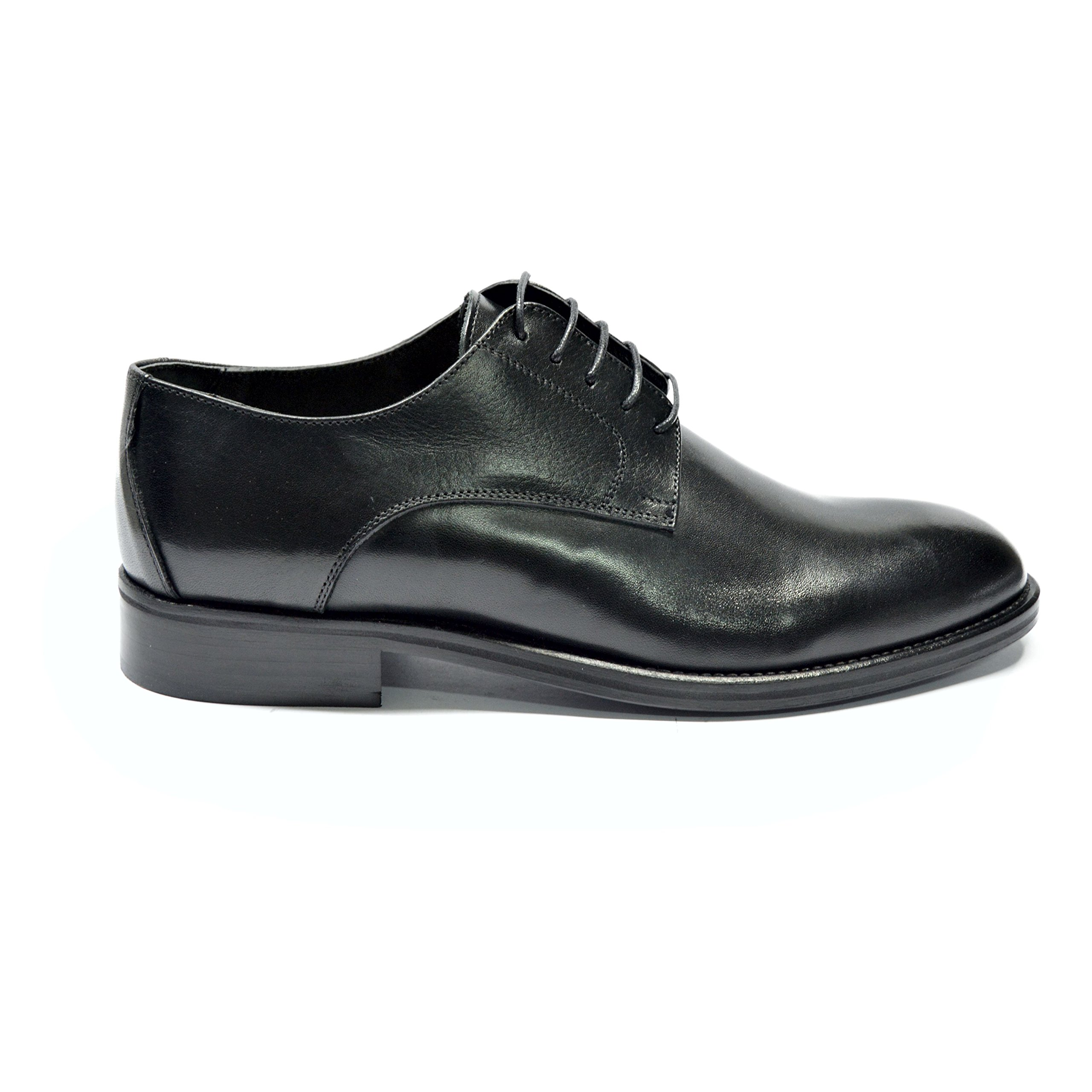 DRUDD USANSON Blk - Men's Black Leather Oxford Dress Wedding Shoes, With Leather Sole, Men US 9 by DRUDD