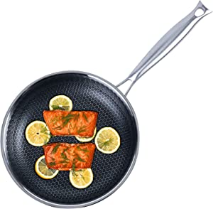 Frying Pan Nonstick, 9.5 inch Stainless Steel Honeycomb Egg Cooking Pan, Dishwasher and Oven Safe Skillet, Induction Compatible, Heavy Duty Nonstick Cookware