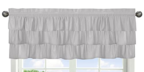 Solid Color Grey Shabby Chic Ruffle Window Treatment Valance for Harper Collection by Sweet Jojo Designs