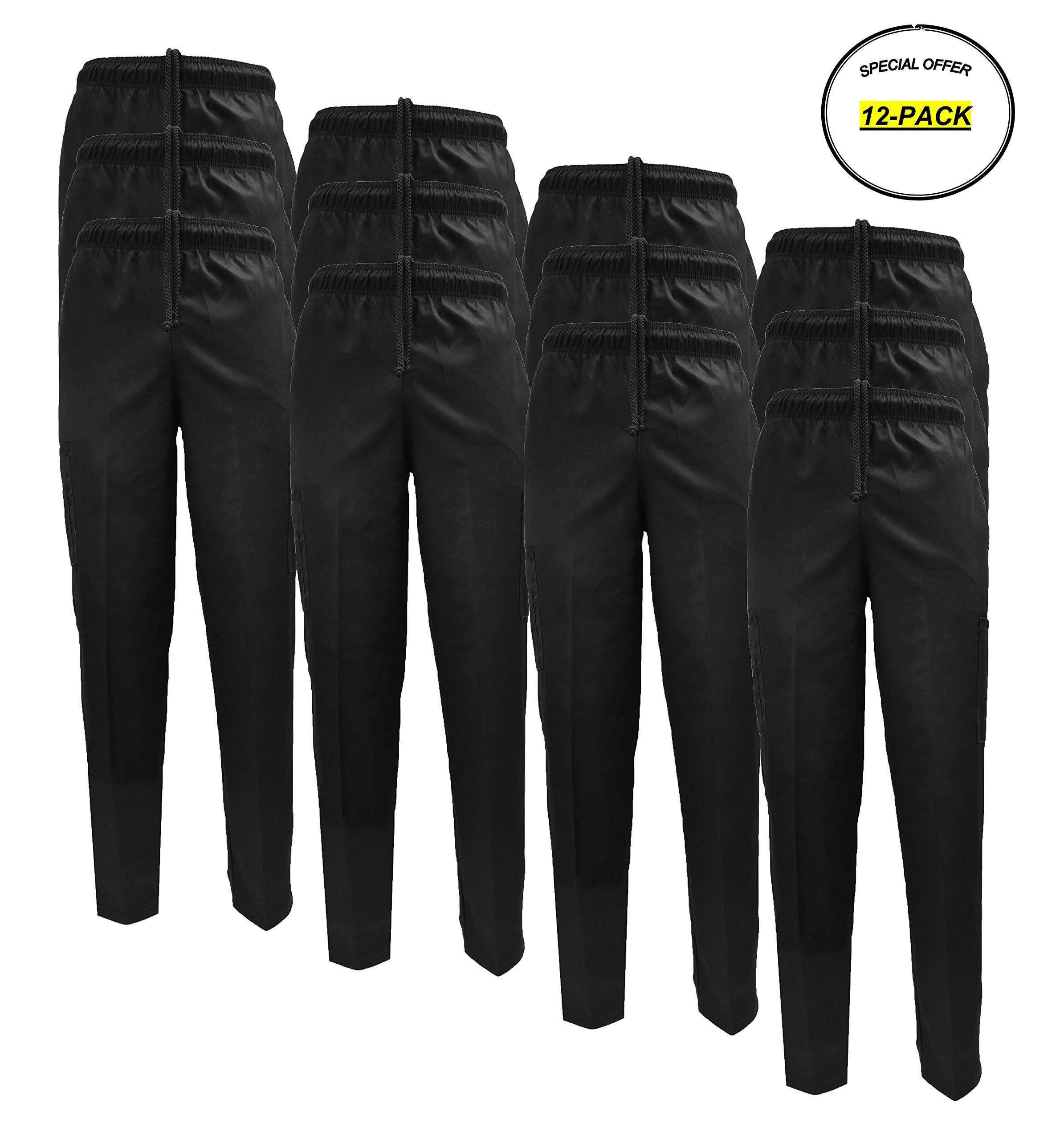 Classic Chef Pants (XXXXX-Large, 12 Pack Black)