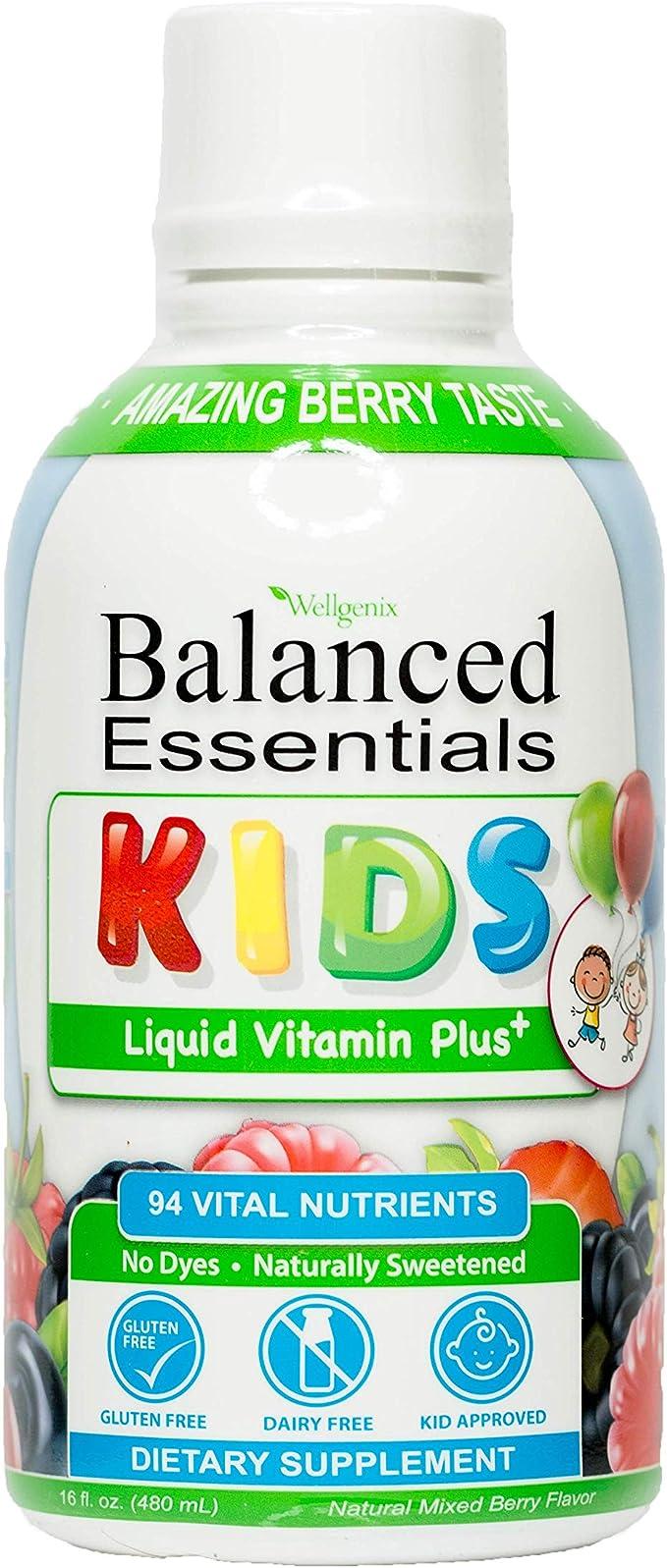 Wellgenix Balanced Essentials Liquid Kids Vitamin - Nutritional Multivitamin for Picky Eaters - Boost Children Immune System and Overall Health 16 Oz (1)