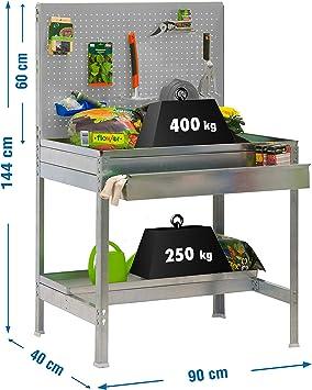 Mesa de trabajo para jardin BT2 Gris/Galvanizado Simonrack 1440x900x400: Amazon.es: Bricolaje y herramientas