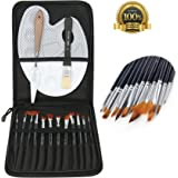 Value Acrylic Paint Brushes and Watercolor Paintbrushes Set, a Multipurpose Paint Brush Set for Acrylic, Watercolor, Oil and Face Painting, with Compact Carrying Case and Palette and Painting Knife