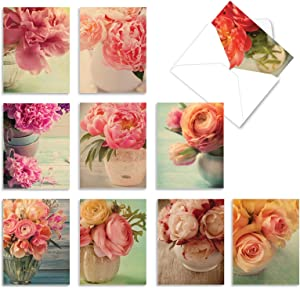 The Best Card Company - 10 Blank Flower Cards for All Occasions (4 x 5.12 Inch) - Retro Floral Card Assortment - Full Blooms M6553OCB