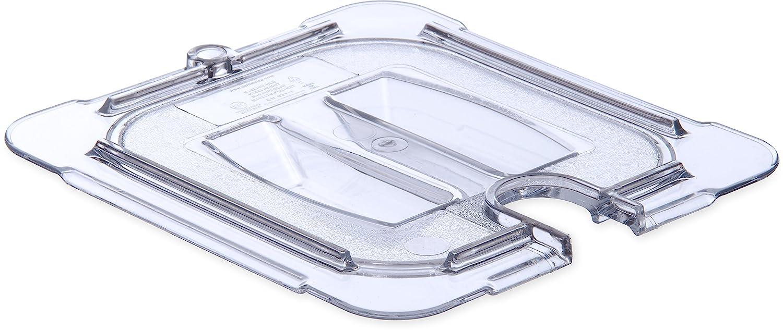 Carlisle 10311U07 StorPlus Sixth Size Polycarbonate Universal Handled Notched Food Pan Lid, Clear