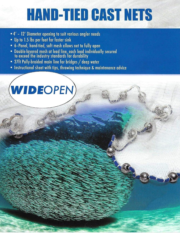 Wide Open Mesh Casting Net 1lb per ft with Cigar//Oblong Leads Fishing Bait Ballyhoo Mullet 6//7//8//10//12