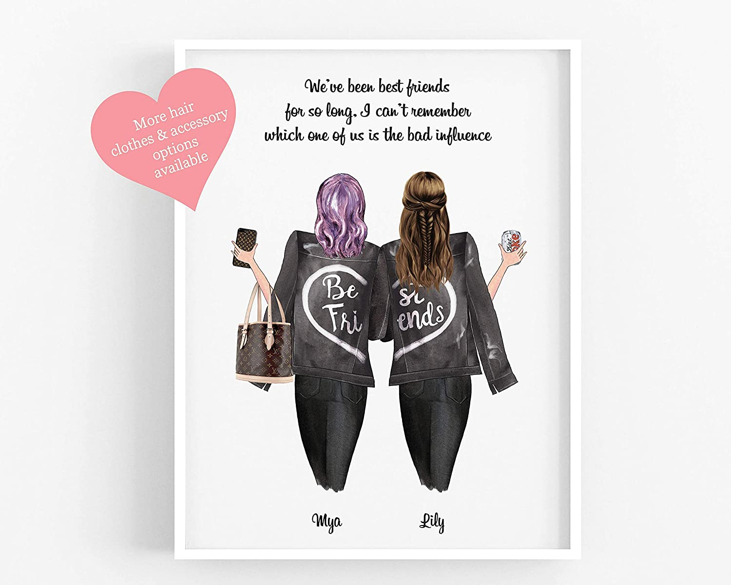 Personalised Gift For A Friend Besties Sisters Family Keepsake Friendship Print Best Friends Present Customisable Hair Clothing Drinks Unframed Available In 5 X7 A5 8 X10 A4 A3 Amazon Co Uk Handmade