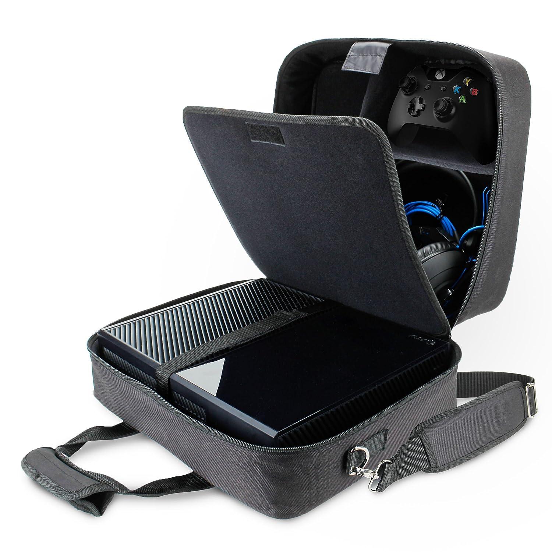 Funda Bolsa de Transporte de Consolas. Maletín Protector con Correa y Compartimentos Customizables para Videojuegos por USA GEAR. para Videoconsolas ...