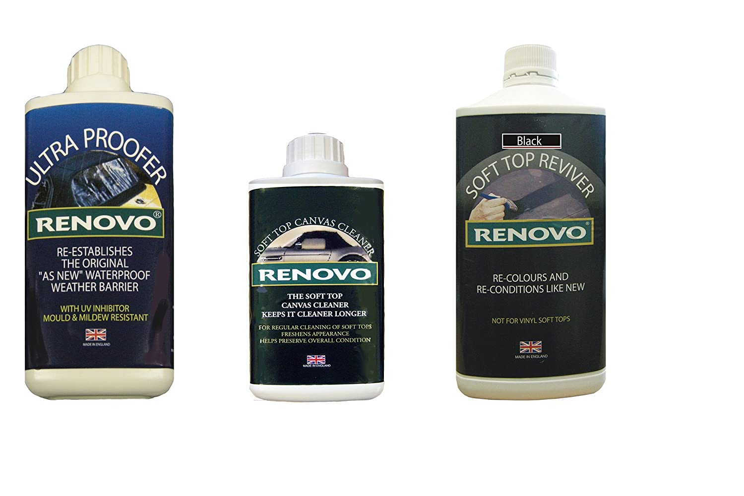 Renovo REN-KIT1 Triple Cleaning Kit includes Soft Top Revivier/Soft Top Ultra Proofer/Soft Top Canvas Cleaner, Black Renovo International