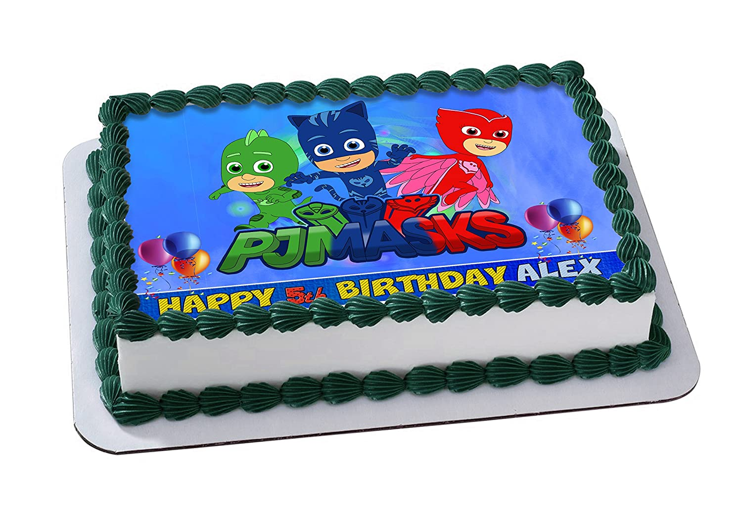PJ Masks Disney Junior Birthday Cake Personalized Cake Toppers Icing Sugar Paper A4 Sheet Edible Frosting Photo 1/4: Amazon.com: Grocery & Gourmet Food