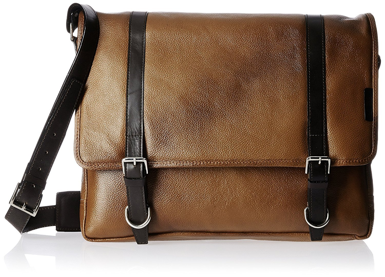 TORTOISE Lowest Price Genuine Buffalo Leather Messenger Bag - Men &Women, Briefcase, Satchel Bag, Laptop Bag,Fits in 15.5'' laptop (Light/Tan brown) by