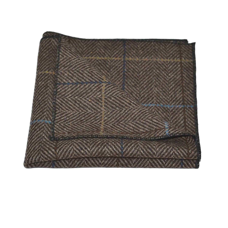 Luxury Walnut Brown Herringbone Check Bow Tie /& Pocket Square Set Tweed