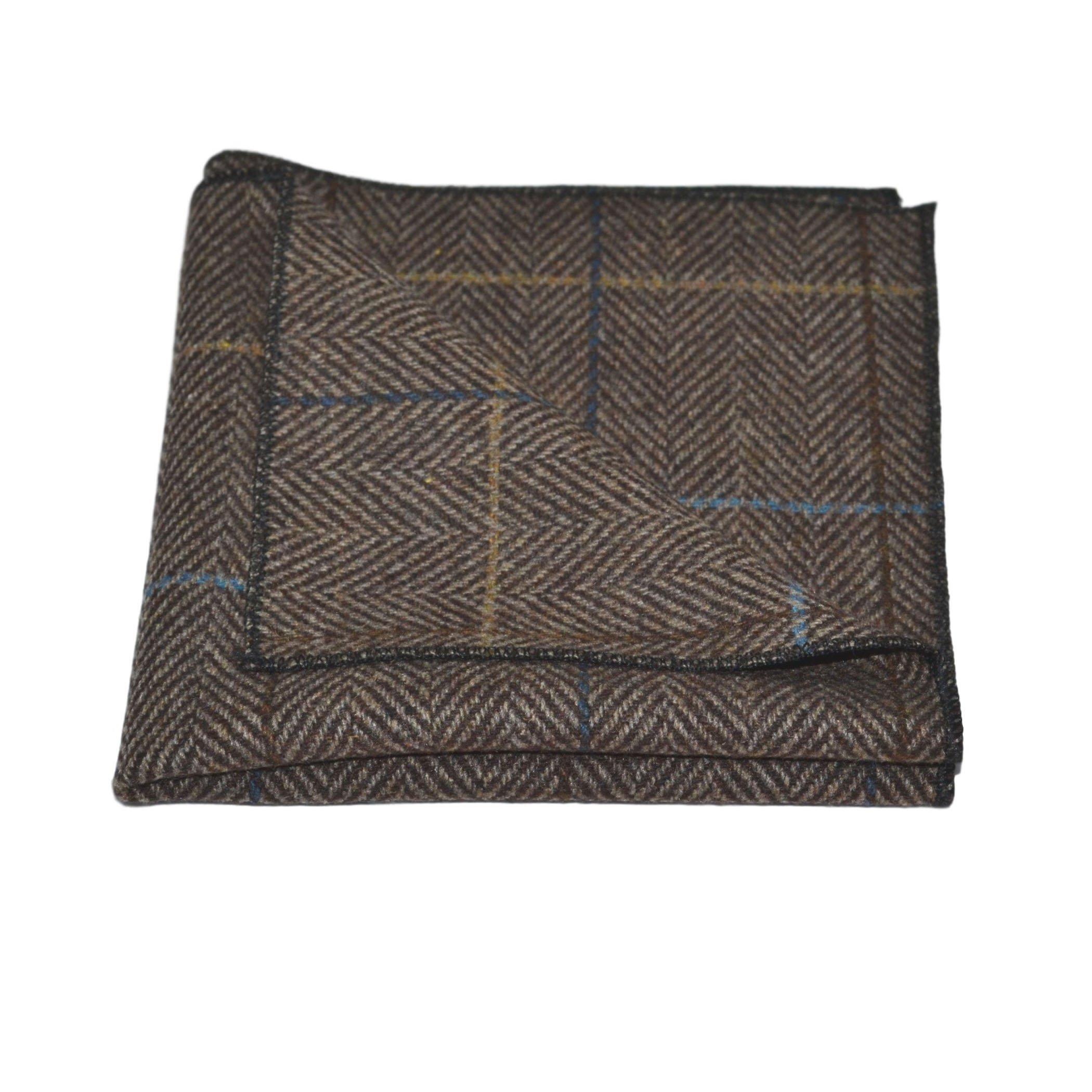 Luxury Walnut Brown Tweed Pocket Square, Handkerchief