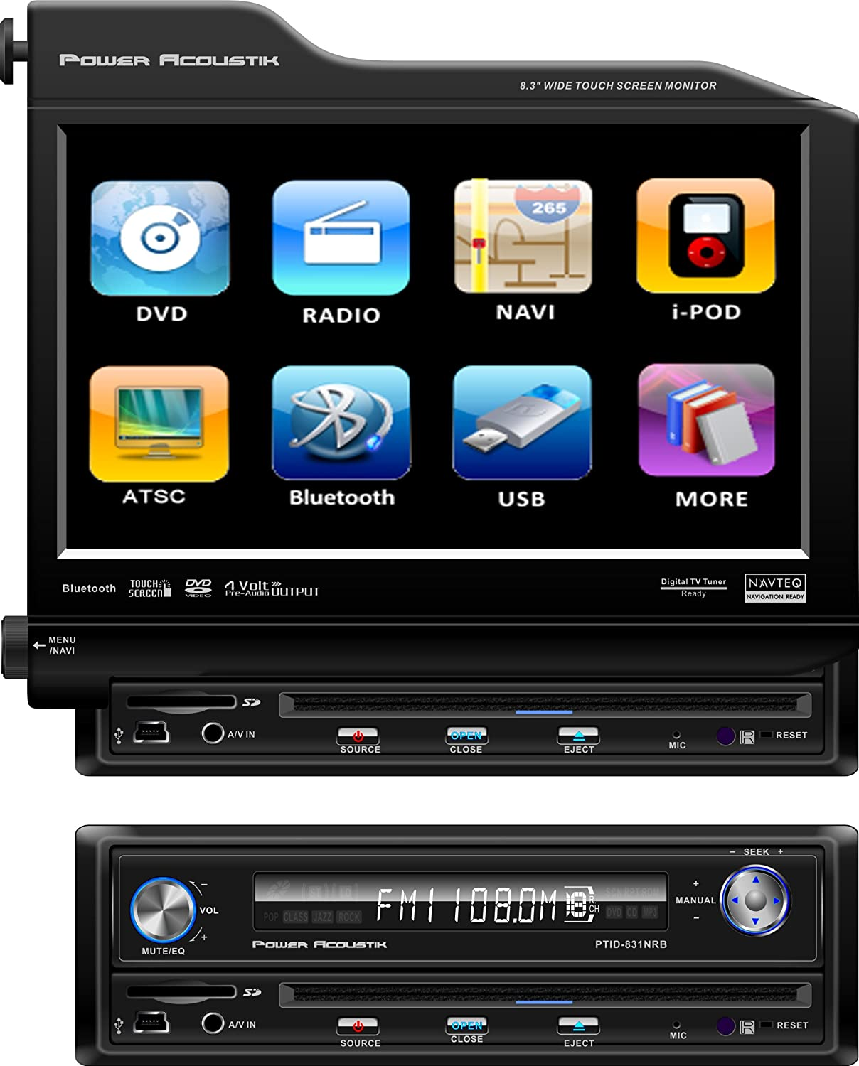 Amazon.com: Power Acoustik PTID-8310NRB Single-DIN 8.3-Inch Flip-Up  Nav-Ready TFT-LCD Touchscreen A/V Source Unit with Bluetooth: Car  Electronics