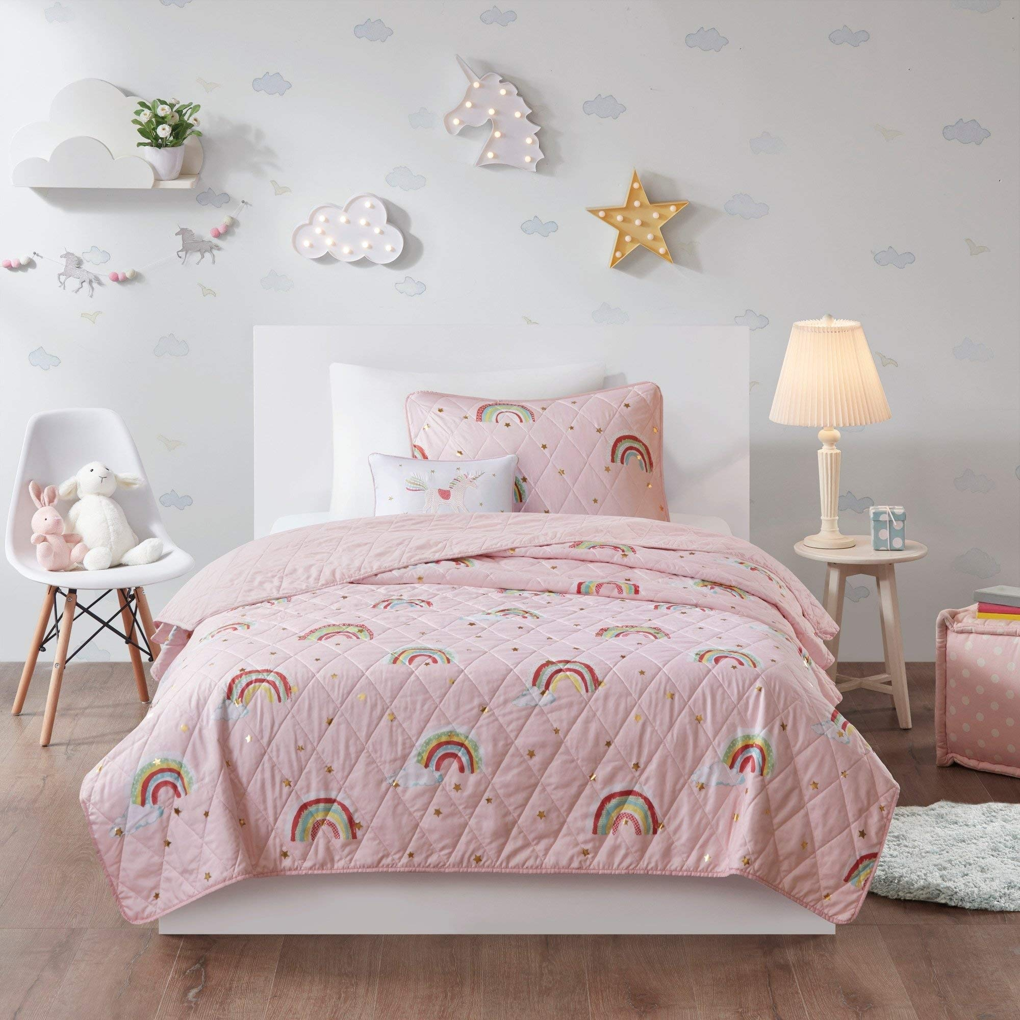 MISC Girls Pink Pastel Rainbow Bedding, Kids Metallic Gold Stars Colorful Rainbows Printed Reversible Coverlet, 4 Piece Full/Queen Size Set with Embroidered Decorative Unicorn Pillow by MISC