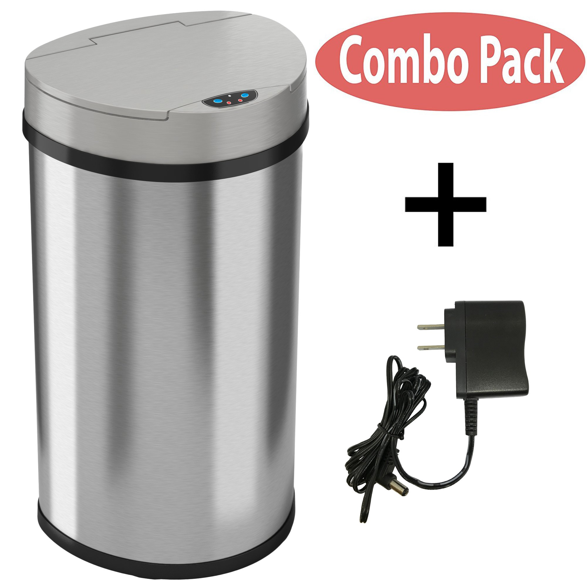 iTouchless 13 Gallon Semi-Round Extra-Wide Opening Trash Can Series (With AC)