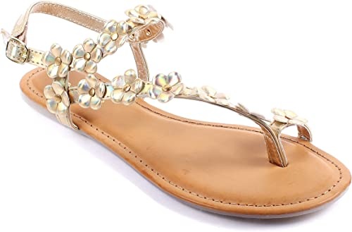6 Color Bamboo Casual Summer Flowers Shape Slingback Flats Womens Sandals Shoes