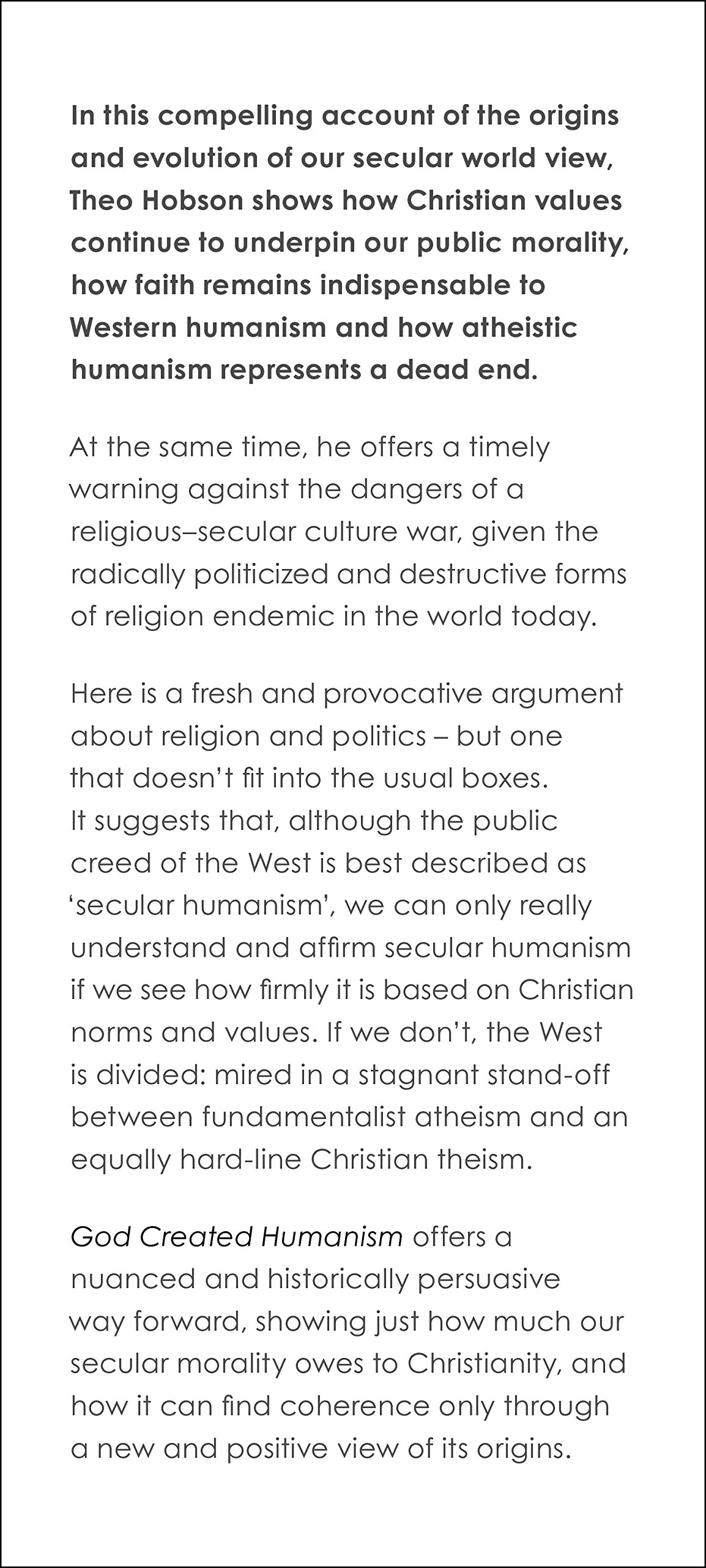 god created humanism the christian basis of secular values