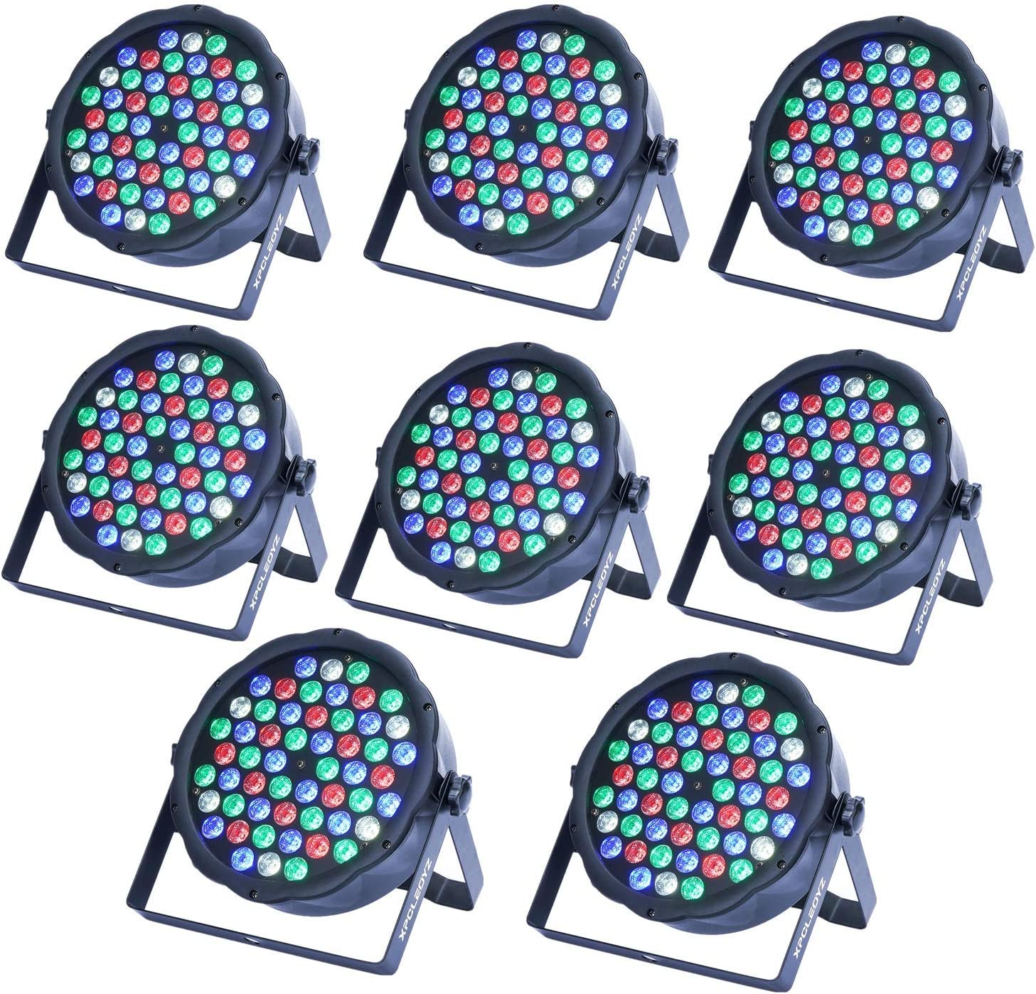 LED Stage Lights XPCLEOYZ 54x3W LED Par Light RGBW 162Watt DMX 512 Stage Lighting for Home Party Wedding DJ Show Club Concert Dance Floor Lighting - 4 Pack … (8PCS)