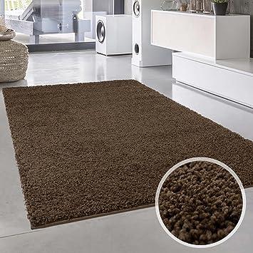 Shaggy Teppich Flauschiger Hochflor Wohn Teppich Einfarbig Uni In
