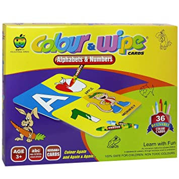 Colour and Wipe Educational Game for Toddlers Preschool Kids - Activity Colouring & Learning Alphabets and Numbers Best Gift