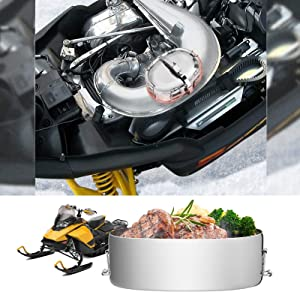 kemimoto Snowmobile Food Warmer Stainless Muffler Exhaust Cooker Snowmobile Hot Dogger Compatible with Polaris Arctic Cat Yamaha, ATV, UTV