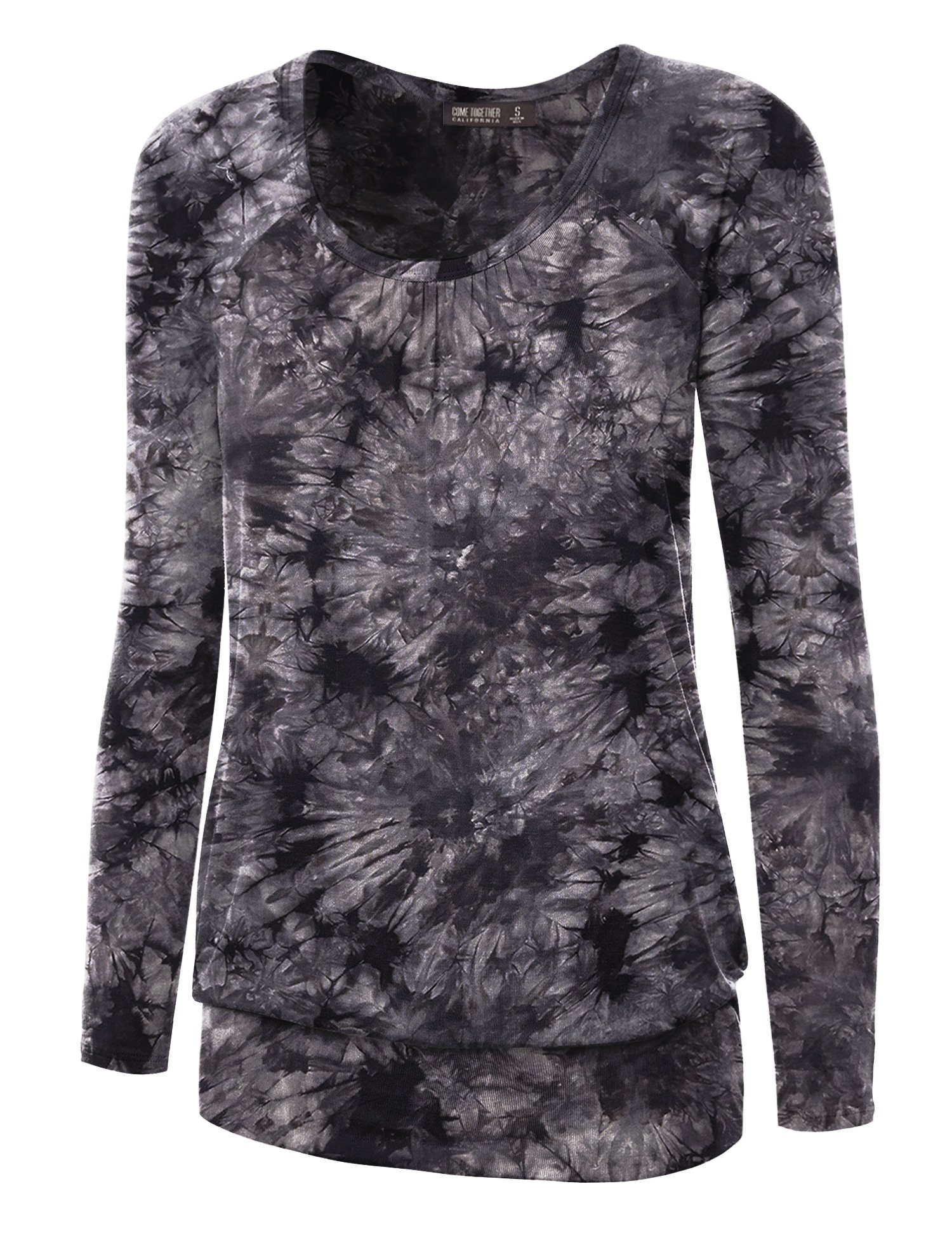 WT1164 Womens Tie-Dye Long Sleeve Front and Back Shirring Raglan Top XXXL BLACK