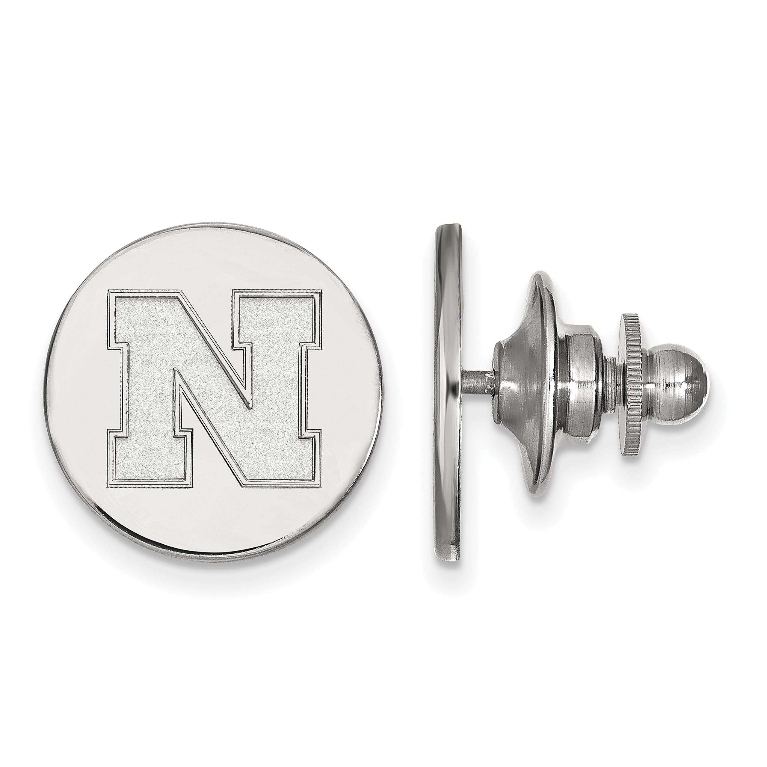University of Nebraska Cornhuskers School Letter Lapel Pin in Sterling Silver 15x15mm by Jewelry Stores Network