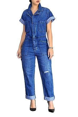58095c38387 Amazon.com  PINLI Elegant Sexy Women Short Sleeve Denim Jumpsuits Loose  Button Down Romper Jeans Casual  Clothing