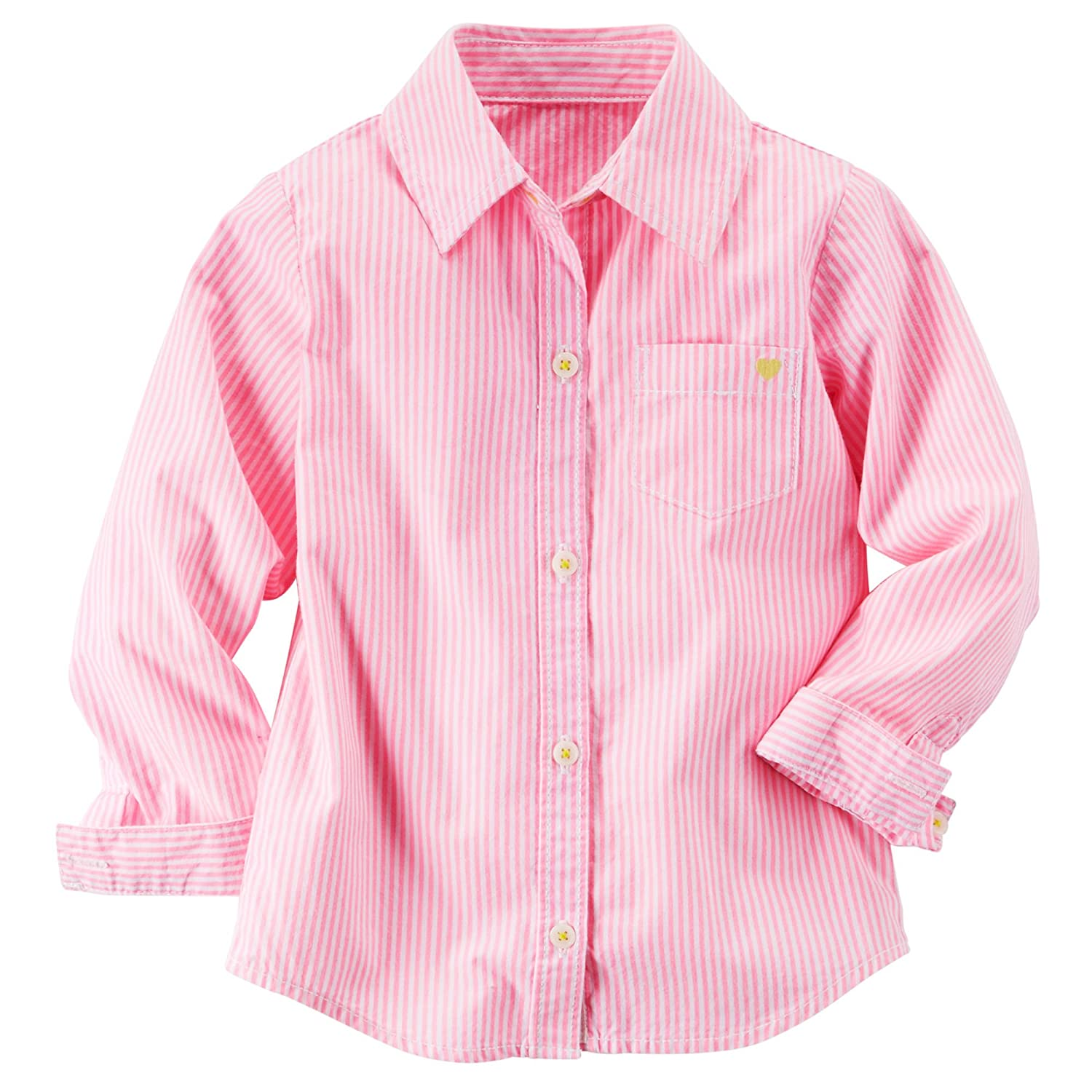 Carters Little Girls Long Sleeves Pinstripe Shirt 9m, Pink