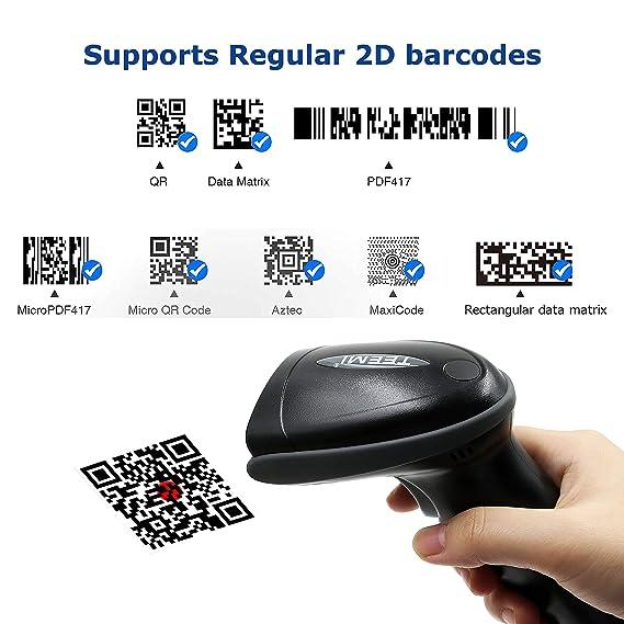TEEMI Barcode Scanner, QR Code Scanner with USB Cradle Data Receiver, 2D,  Wireless, Bluetooth, Read Screen