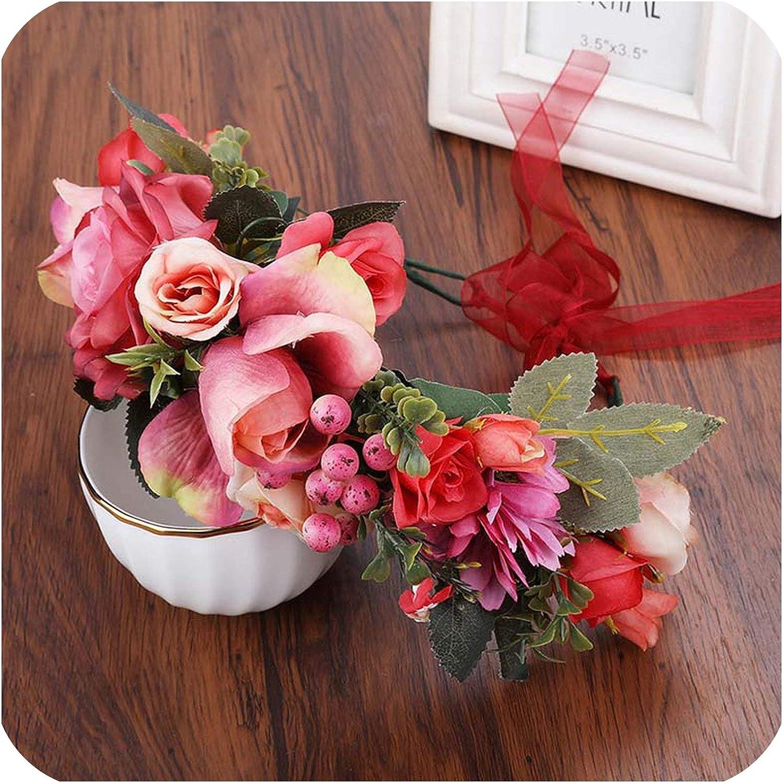 TaiGu Bridal hair accessories Diadema de Princesa Dulce, Corona Floral, Diadema de Flores para Fiesta, Bohemio, Tocado de Novia