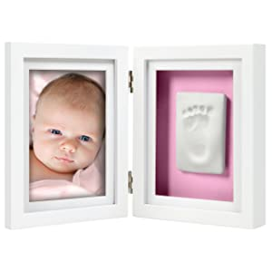 Pearhead Babyprints Newborn Baby Handprint and Footprint Desk Photo Frame & Impression Kit, Excellent First Fathers Day Gift for Dad, New Dad Gifts, White