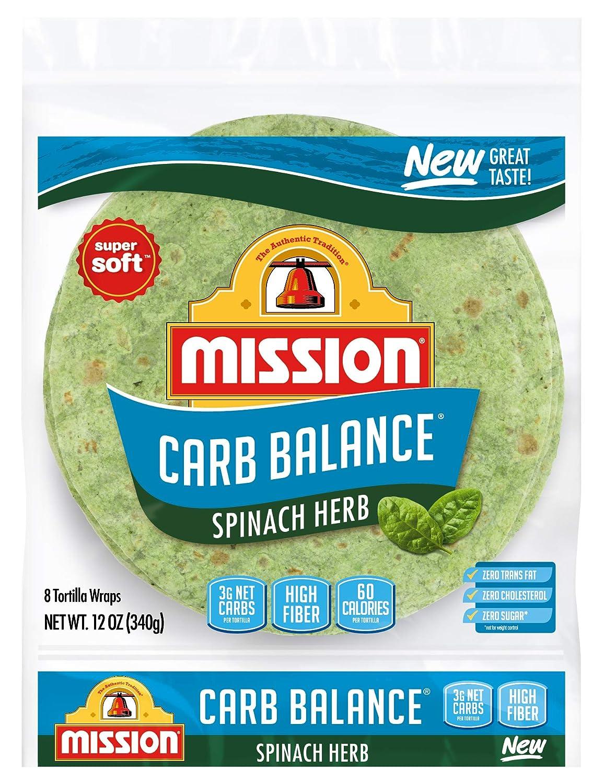Mission Carb Balance Spinach Herb Tortilla Wraps, Low Carb, Keto, High Fiber, No Sugar, 8 Count
