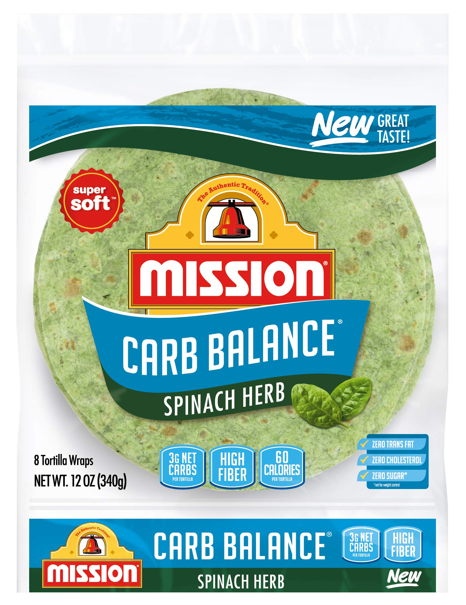 Mission Carb Balance Spinach Herb Tortilla Wraps, Low Carb, Keto, High Fiber, No Sugar, 8 Count