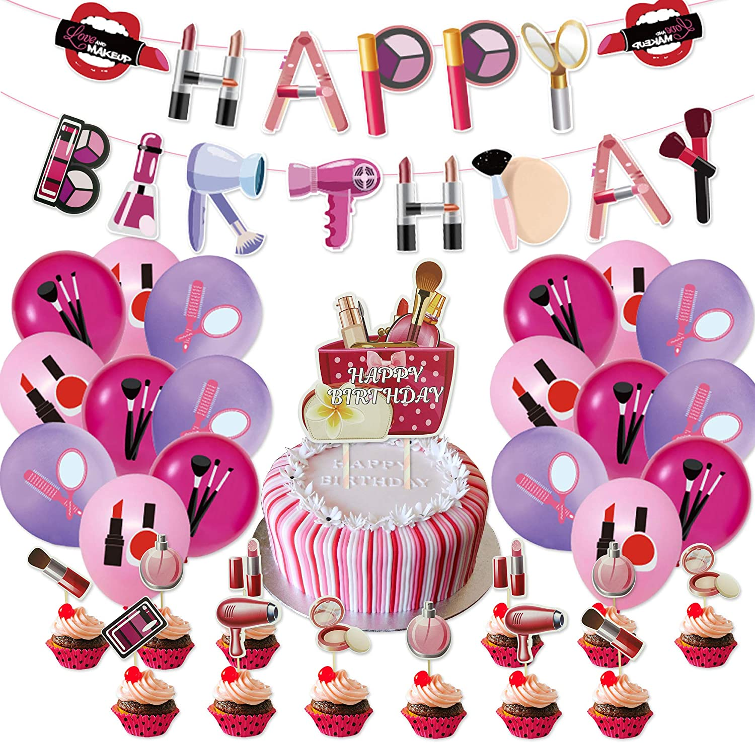 Makeup Birthday Party Decorations 44PCS Salon Women Home Party 18 Pack Balloons, 1 Pack Banner, 24 Pack Small Cake Toppers, 1 Big Cake Toppers Spa Theme Decor for Girls